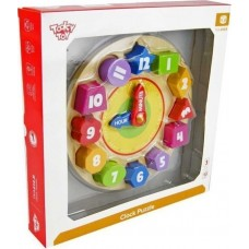 Tooky Toy Ξύλινο Ρολόι με Σφηνώματα (Κωδικός TKA414-B)