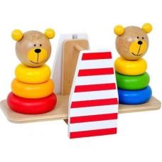 Tooky Toy Ξύλινη Ζυγαριά με Αρκουδάκια Πυραμίδες (Κωδικός TKB499)