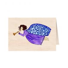 """Κάρτα ξύλινη """"Μπλε Άγγελος"""""""