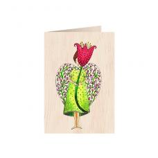 """Κάρτα ξύλινη """"Άγγελος & Λουλούδι"""""""