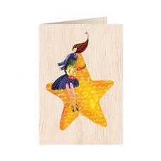 """Κάρτα ξύλινη """"Αστέρι"""""""