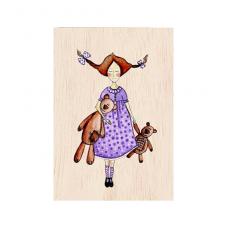 """Κάρτα ξύλινη """"Κορίτσι Με Αρκουδάκια"""""""