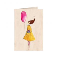 """Κάρτα ξύλινη """"Μπαλόνι"""""""